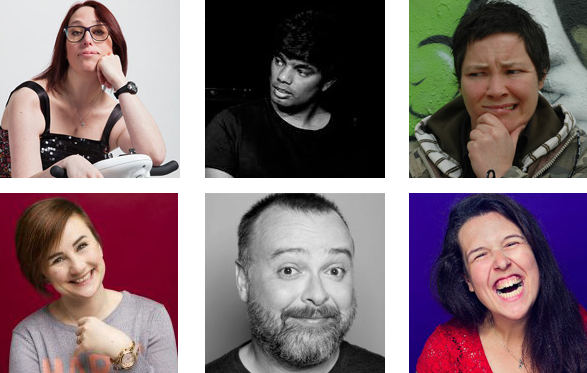 Photo montage of comedians performing at Possability People event