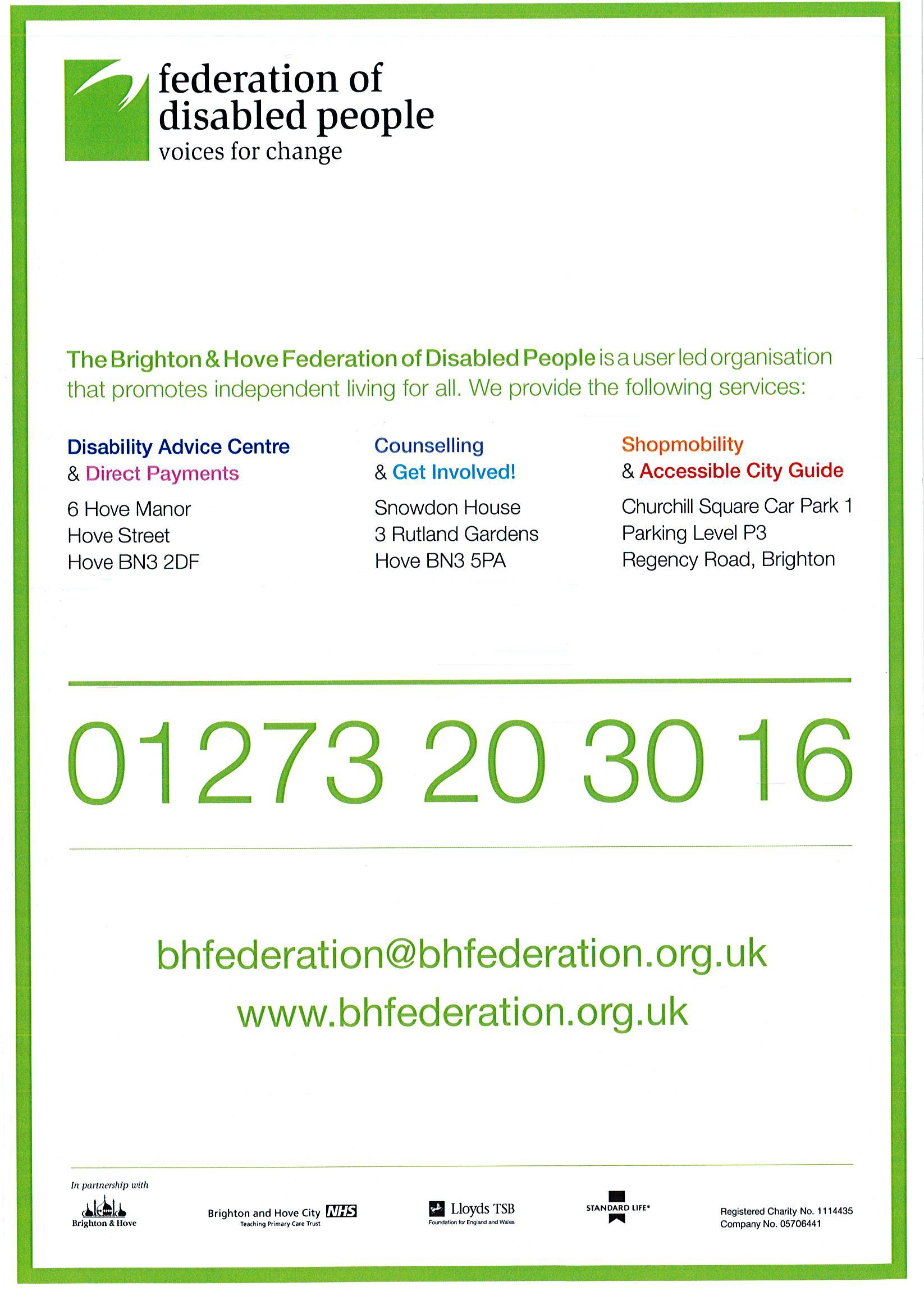 A leaflet describing what we do.