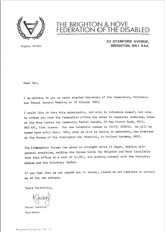 Copy of letter from our secretary